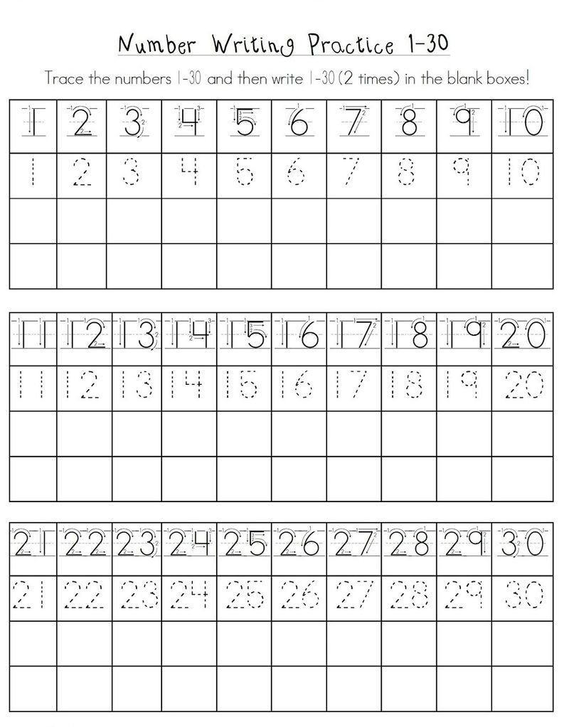 Trace Numbers 1 30 Worksheet Free Printable Kindergarten Number Worksheets Fun In 2020