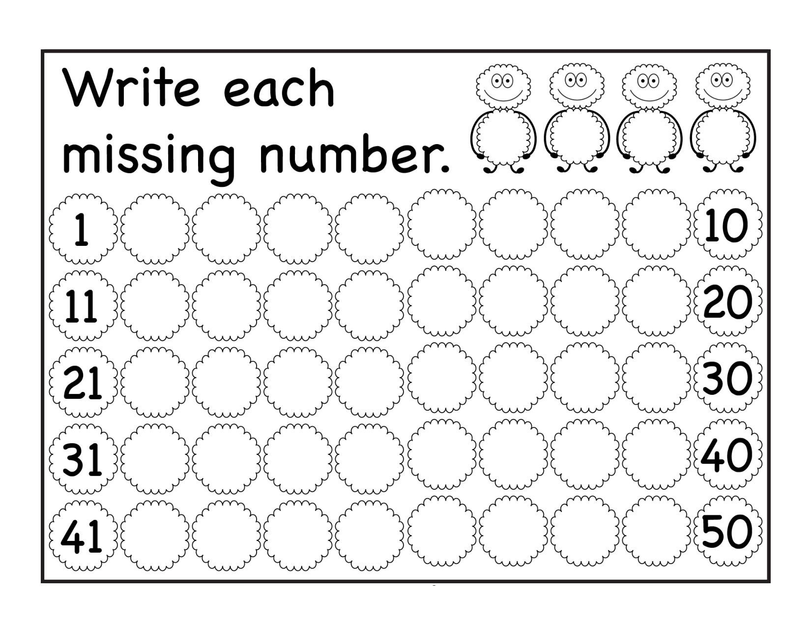 Trace Numbers 1 30 Worksheet Missing Numbers Archives