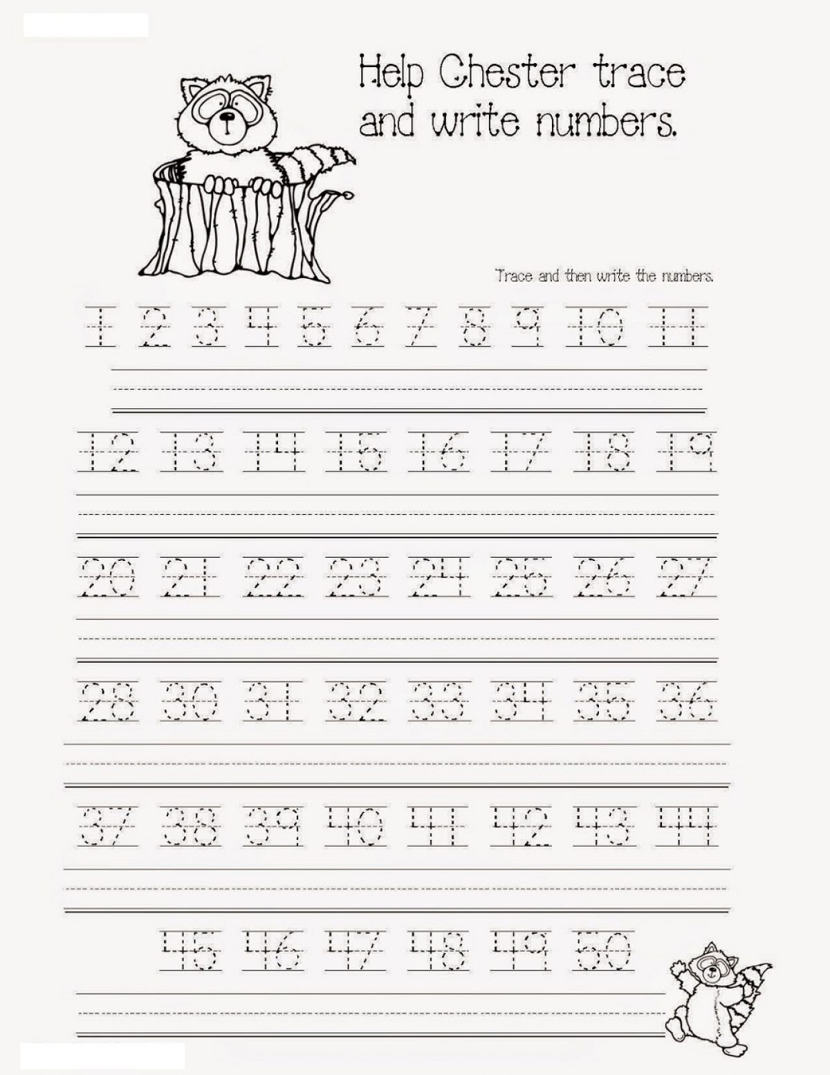 Trace Numbers 1 30 Worksheet Number Tracing Worksheets