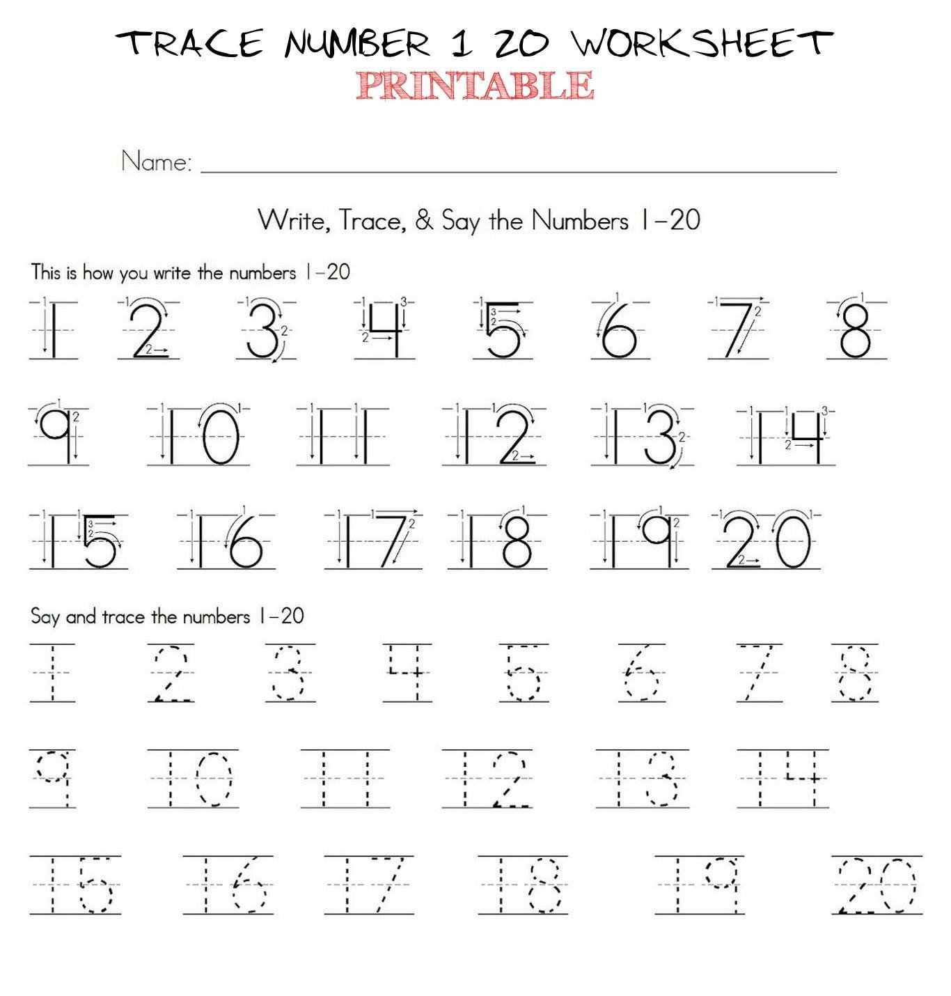 Trace Numbers 1 30 Worksheet Trace Number 1 20 Worksheet Printable Trace Number 1 20