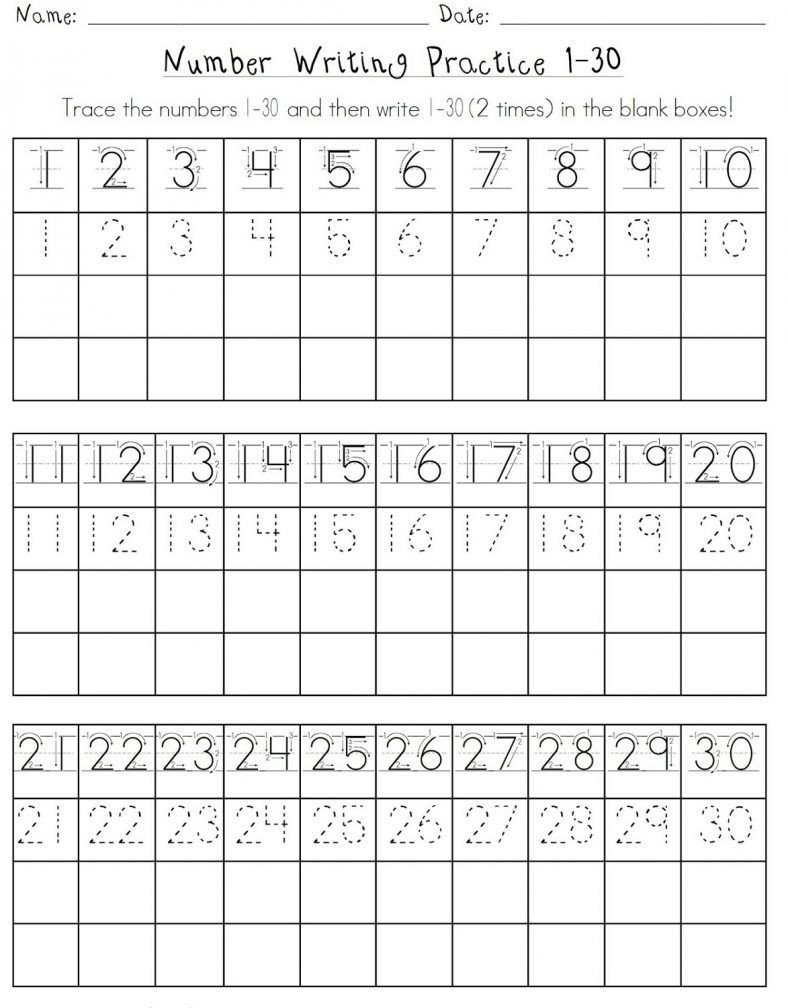 Trace Numbers 1 30 Worksheet Traceable Number Worksheets