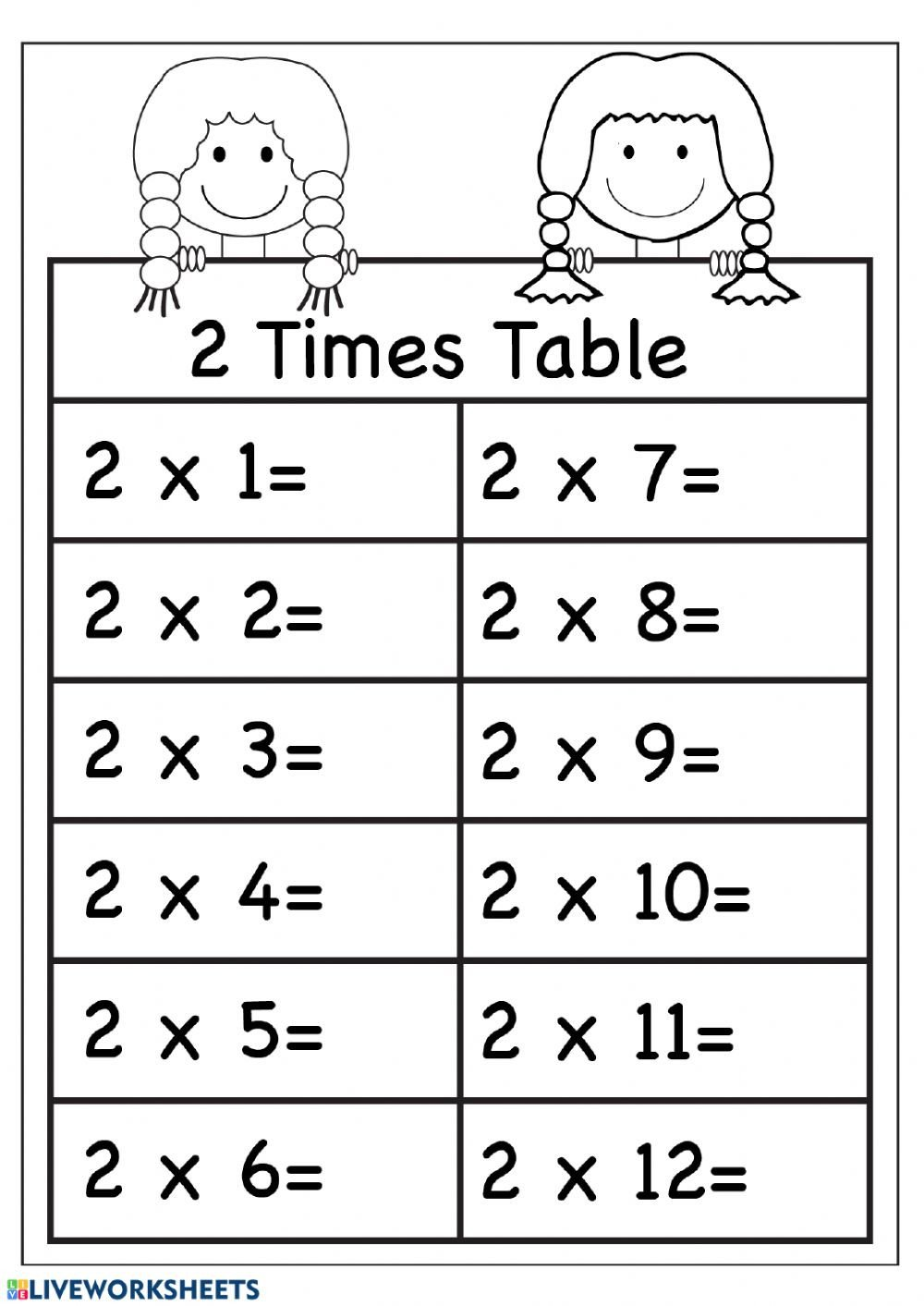 Two Times Tables Worksheet 2 Multiplication Practice Interactive Worksheet