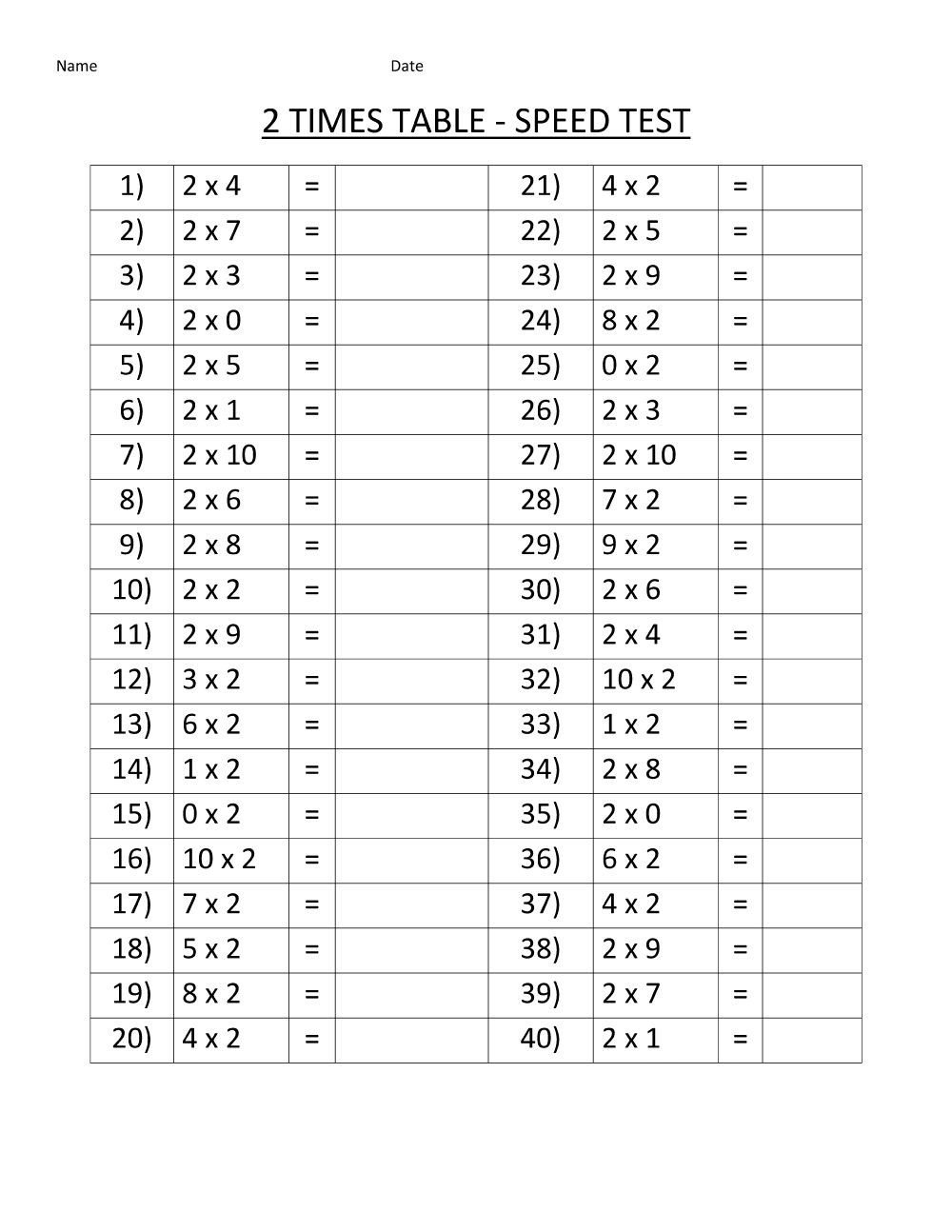 Two Times Tables Worksheet Two Times Table Worksheets