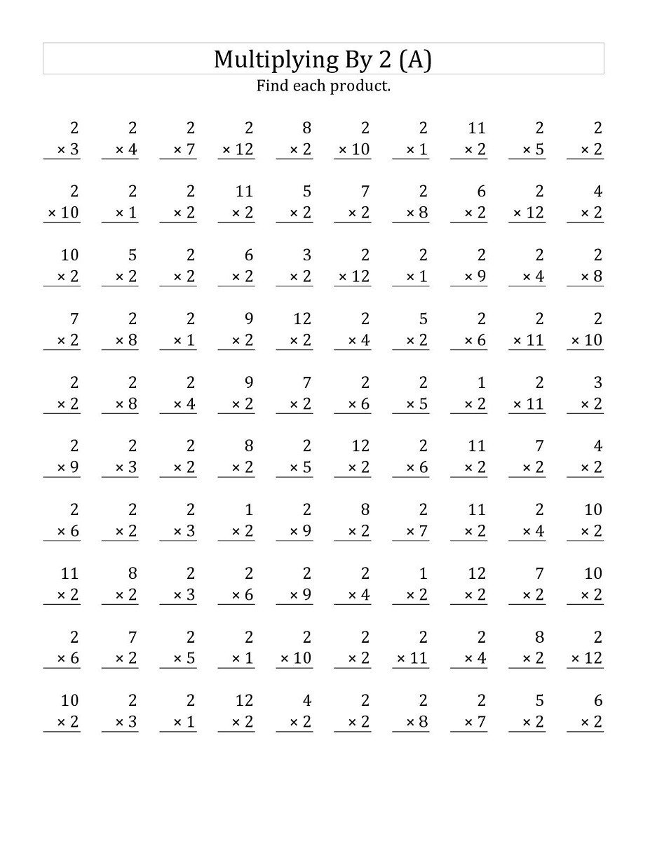 two times table worksheet printable