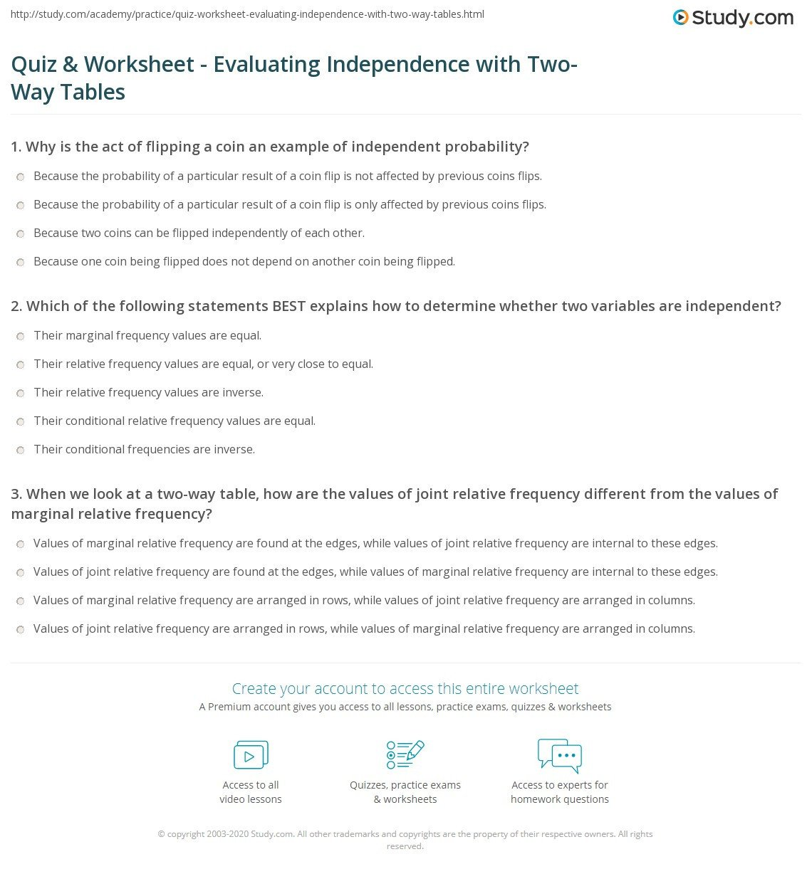 2 Way Table Worksheet Quiz & Worksheet Evaluating Independence with Two Way