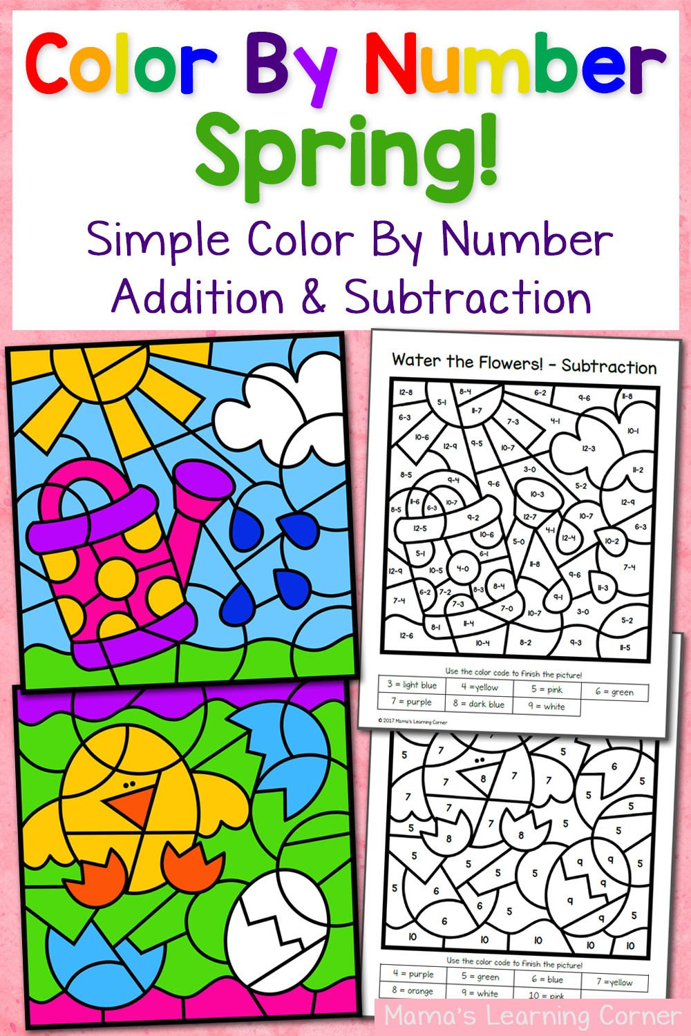 Addition Color by Number Worksheet Spring Color by Number Worksheets with Simple Numbers Plus