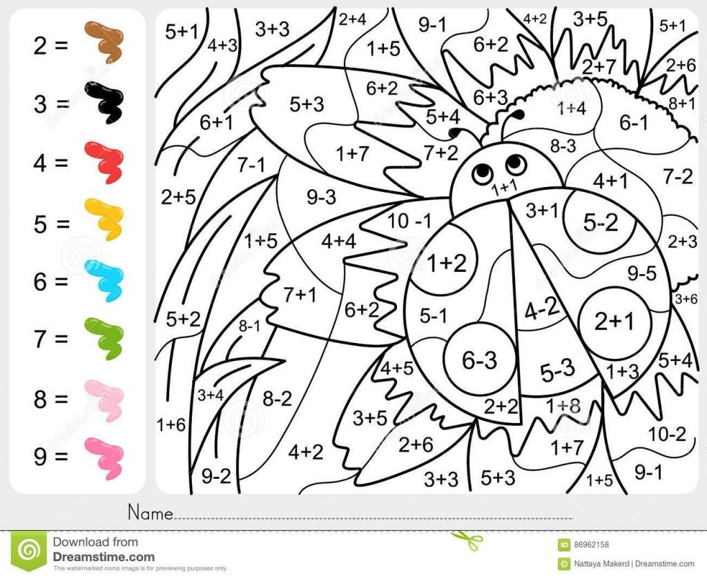 Addition Color by Number Worksheet Uncategorized Free Color by Number Worksheetshoto