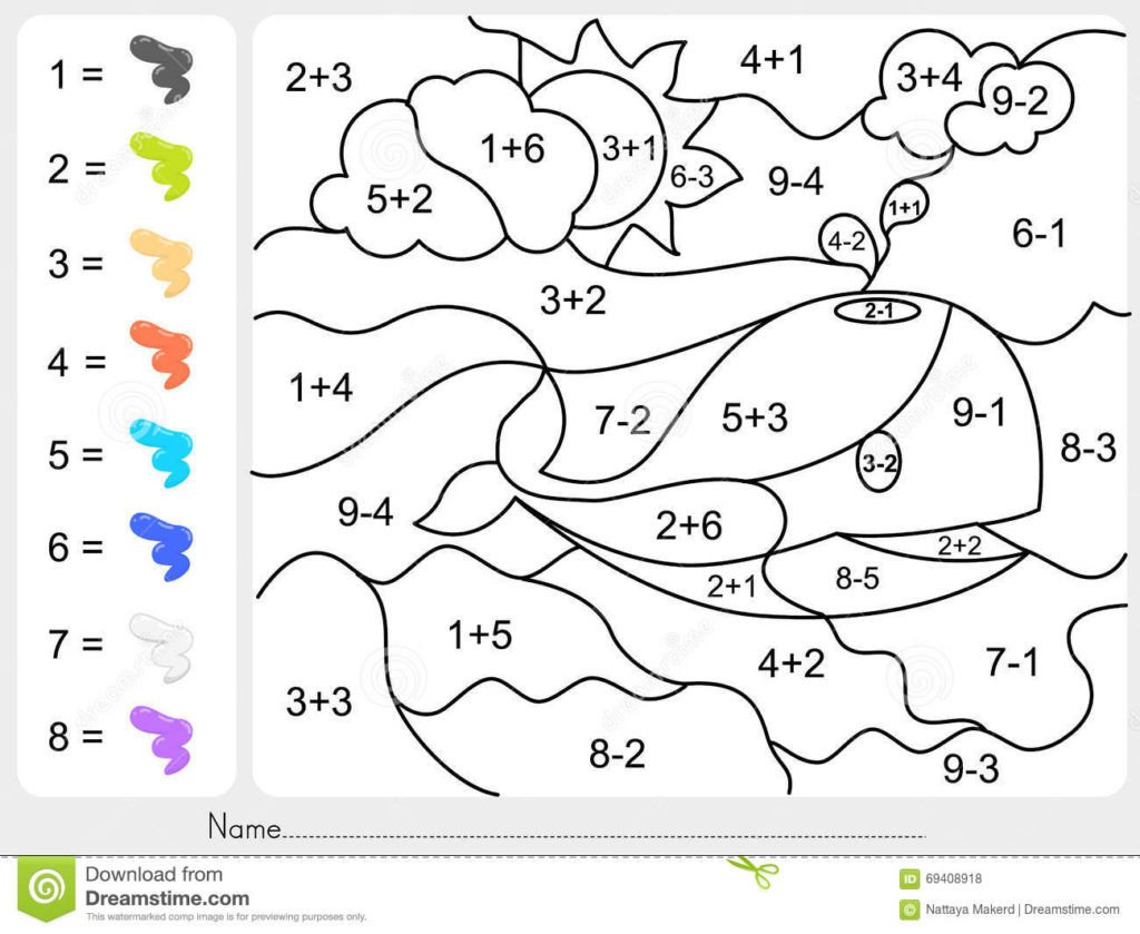 addition andaction coloring pages worksheet paint color numbers education christmas by 1024x839