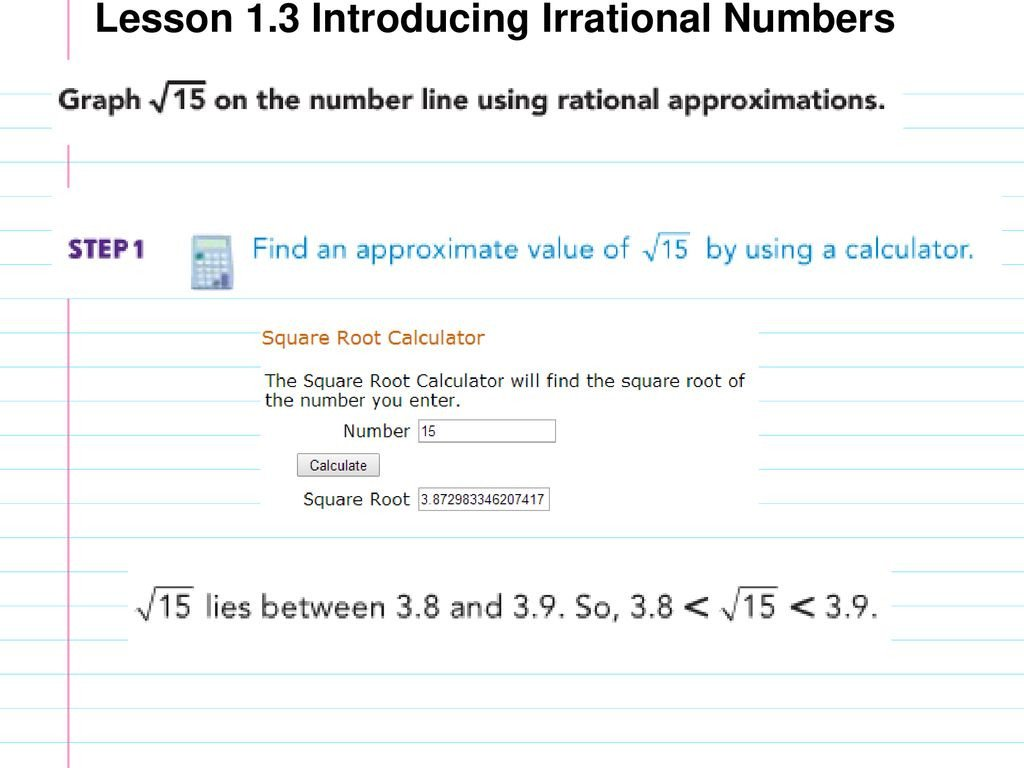 Approximating Irrational Numbers Worksheet Lesson 1 3 Introducing Irrational Numbers Ppt