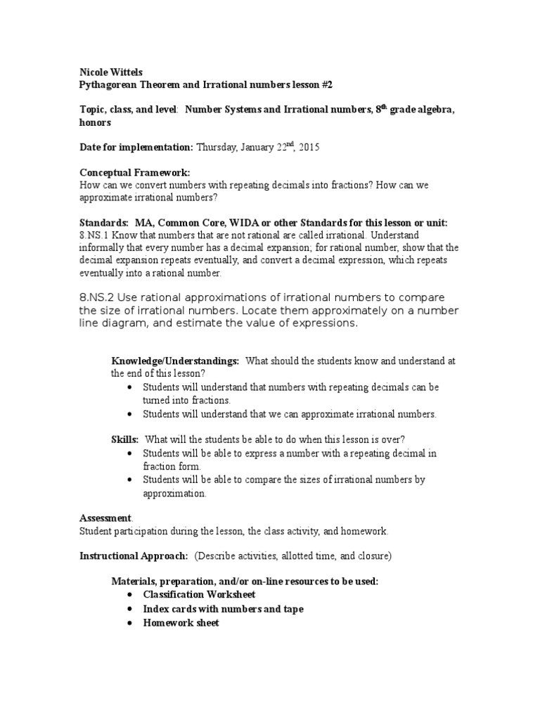Approximating Irrational Numbers Worksheet Pythagorean theorem and Irrational Number Lesson 2