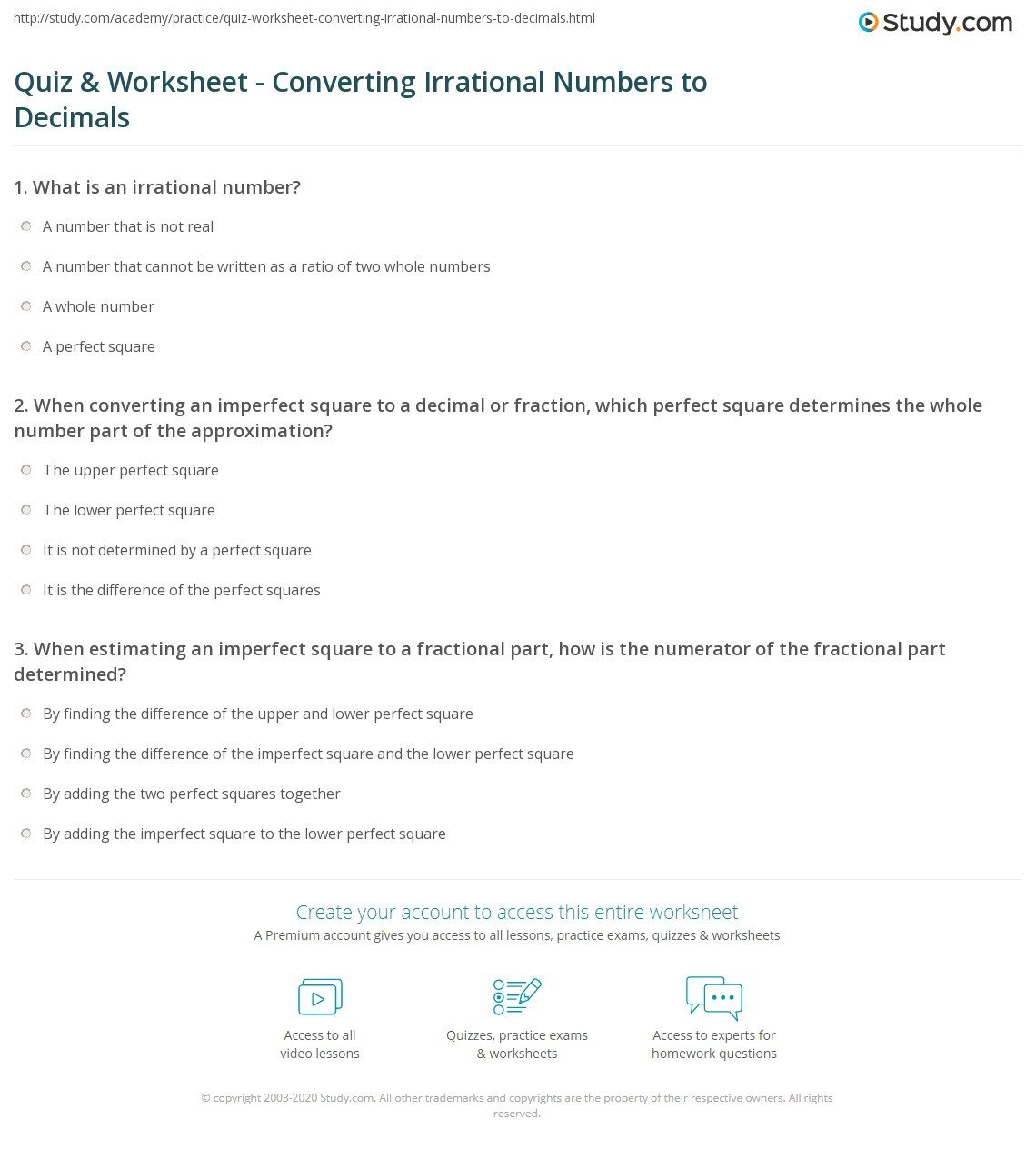 Approximating Irrational Numbers Worksheet Quiz & Worksheet Converting Irrational Numbers to Decimals