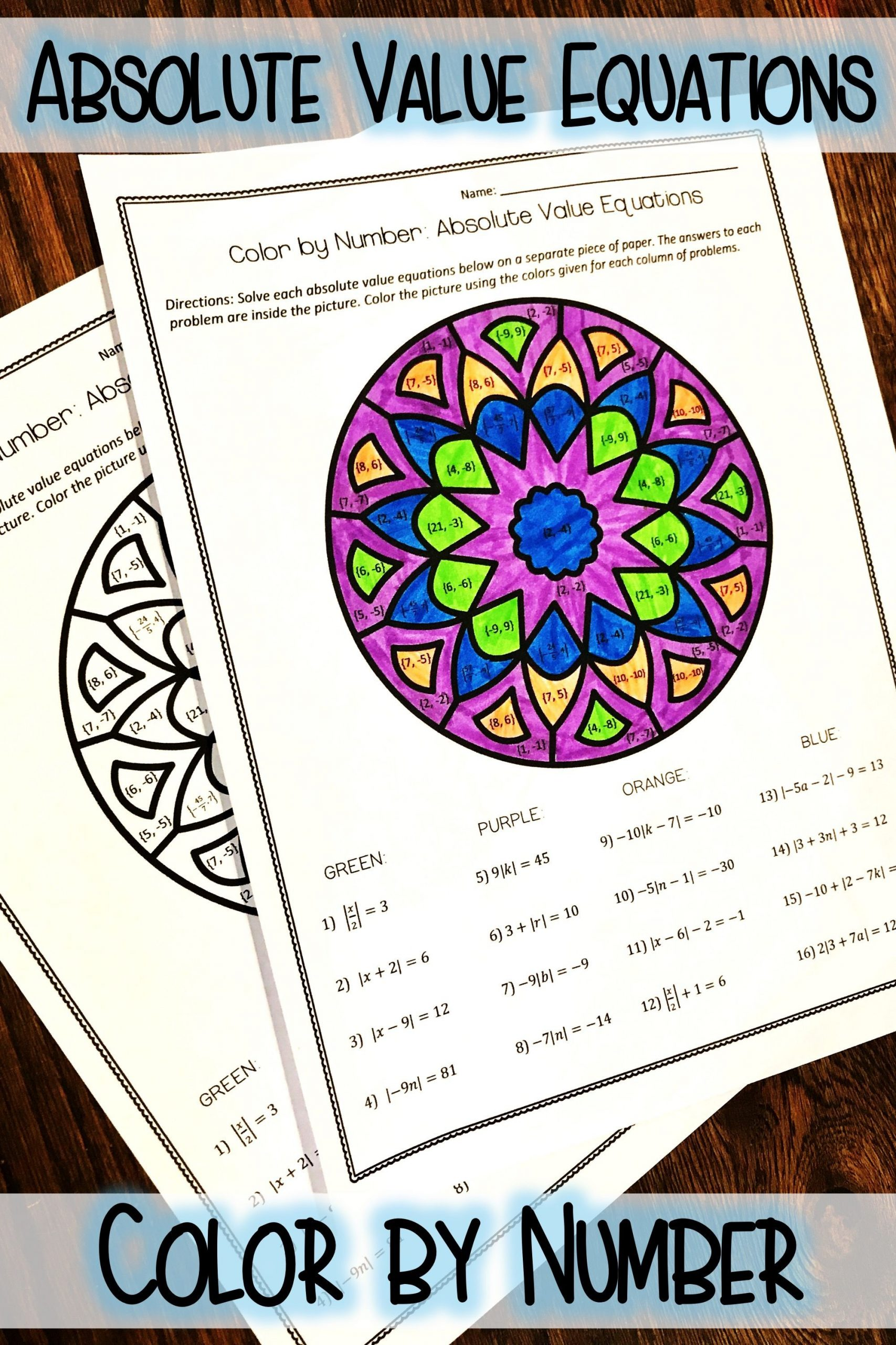 Color by Number Equations Worksheets Absolute Value Equations Color by Number Activity