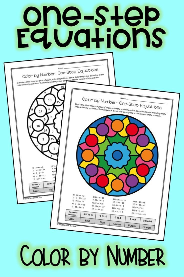 Color by Number Equations Worksheets E Step Equations Algebra Color by Number with Images
