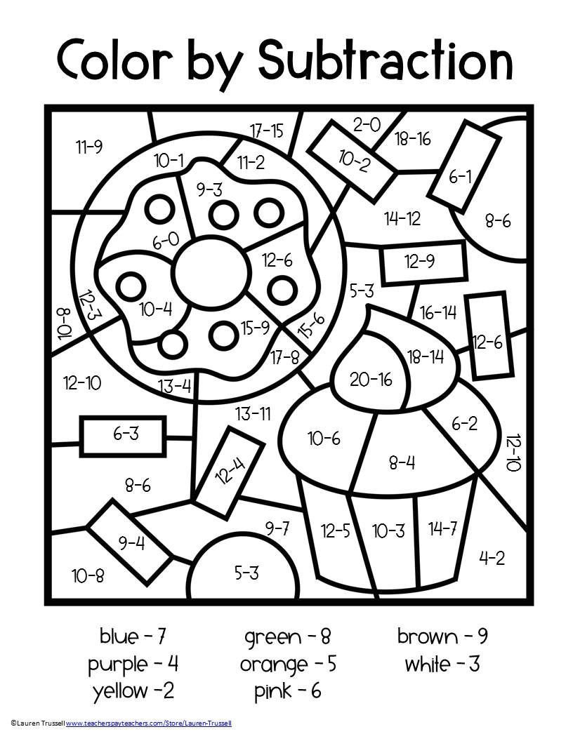 Color by Number Equations Worksheets Subtraction Math Elementary Centers Early Finishers