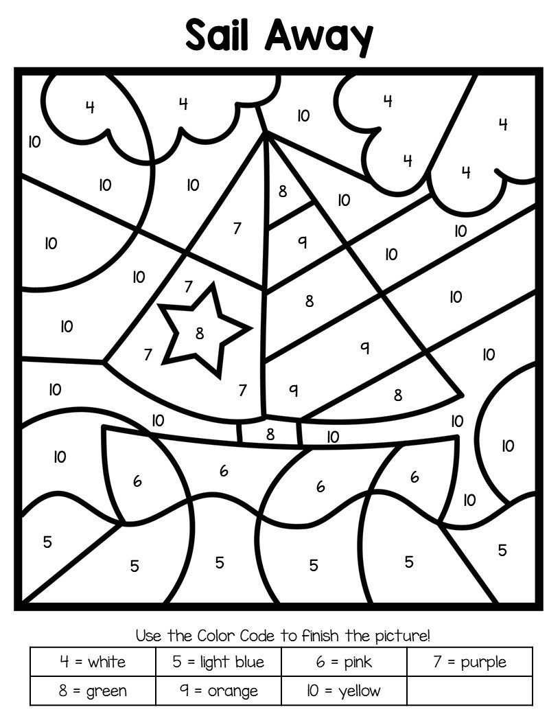 Color by Number Equations Worksheets Summer Color by Number Worksheets Mamas Learning Corner