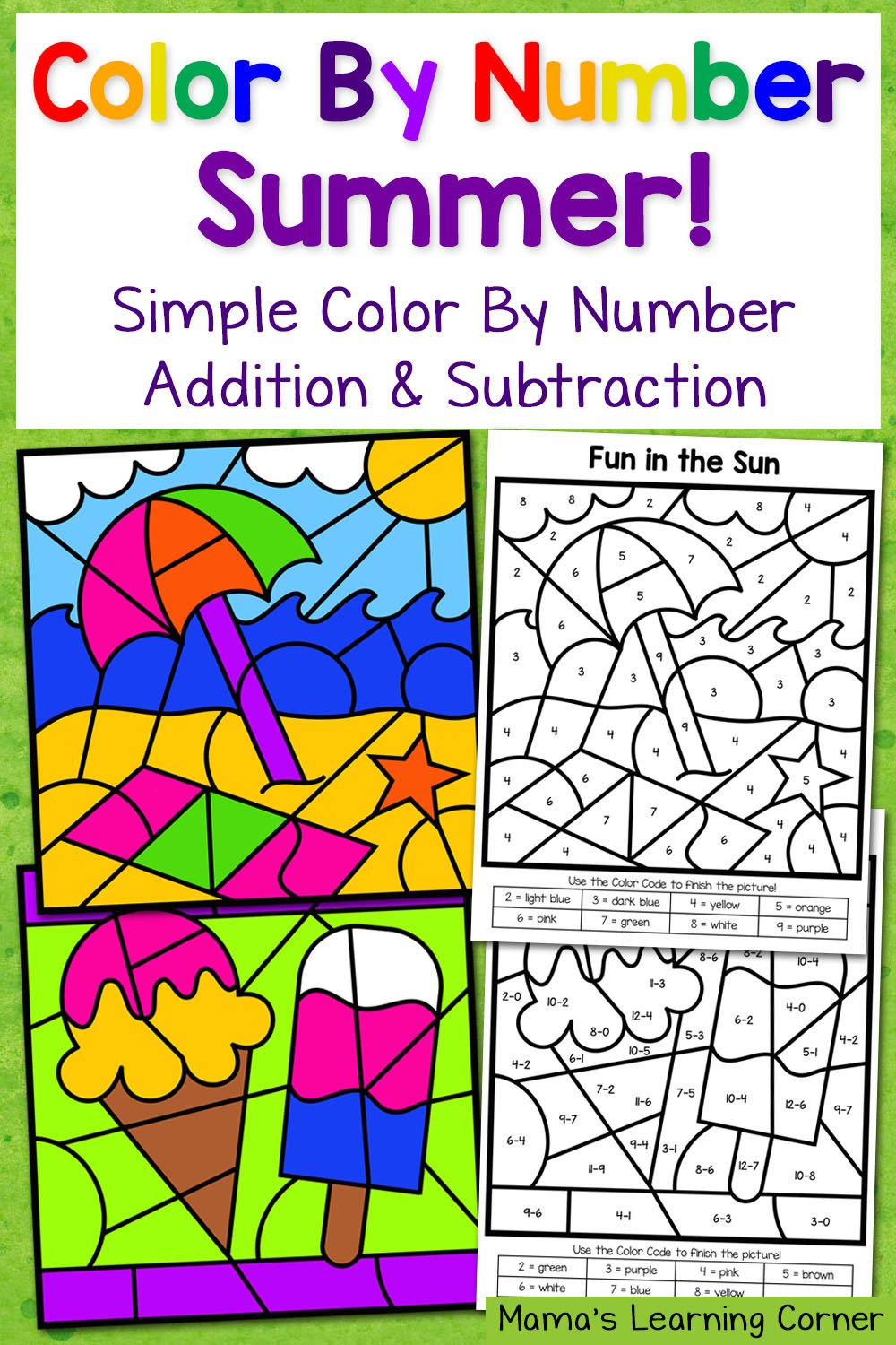Color by Number Equations Worksheets Summer Color by Number Worksheets with Simple Numbers Plus