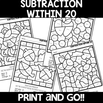 Color by Number FALL Worksheets Subtraction within 20