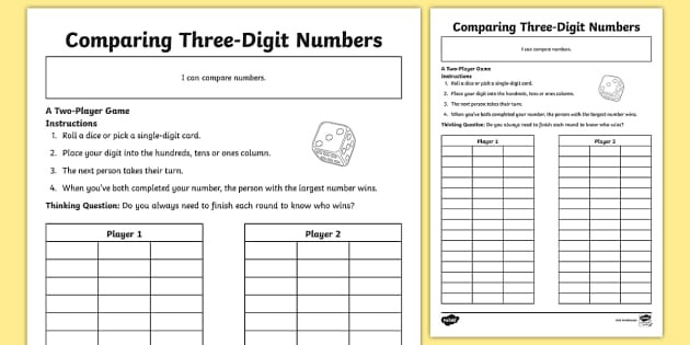 t2 m 5766 paring three digit numbers activity sheet