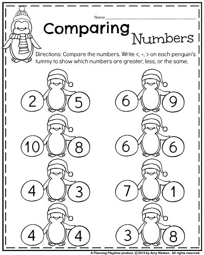 january kindergarten math worksheets paring numbers write the symbol on penguins tummy number coloring