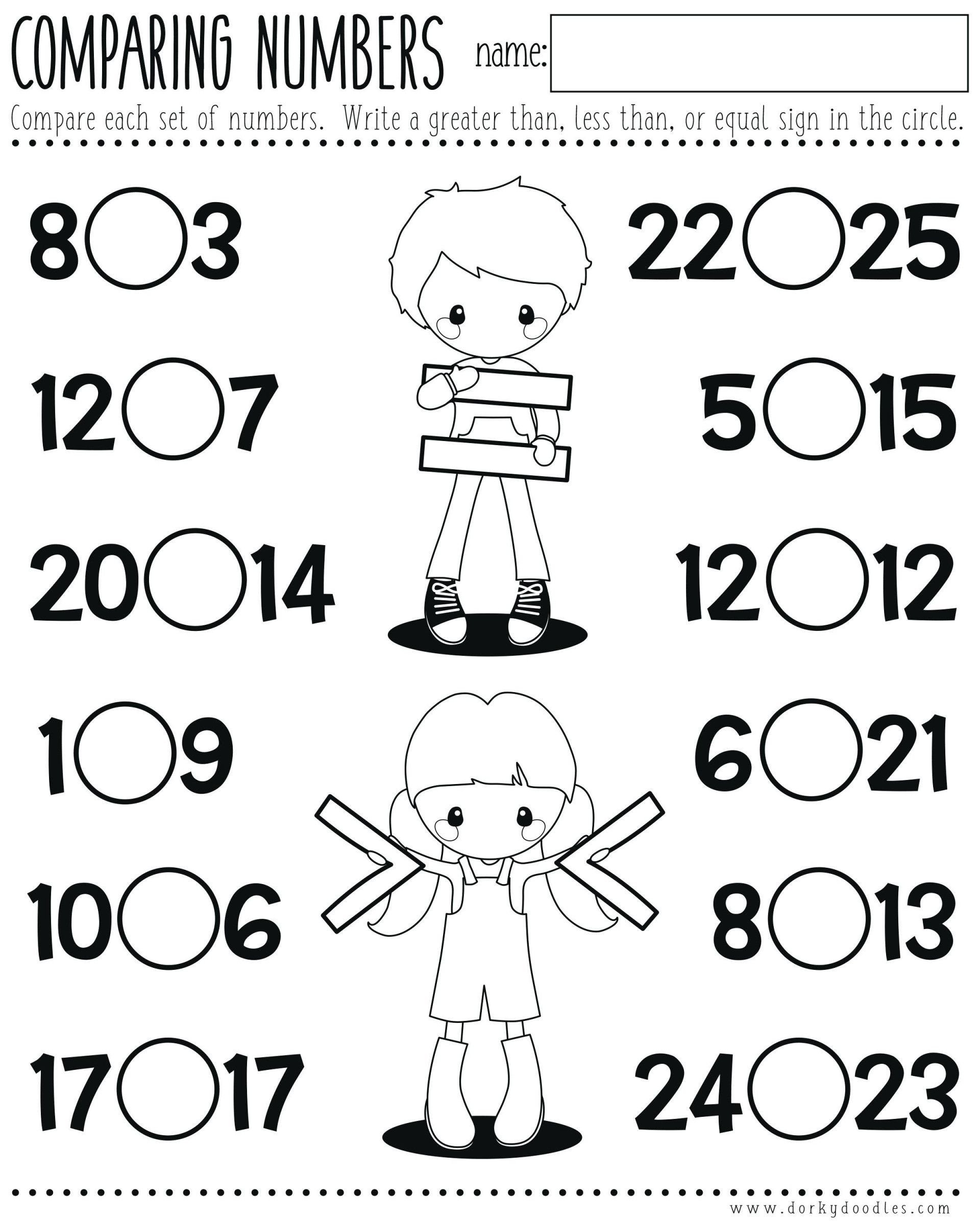 Comparing Numbers Worksheets for Kindergarten Less Than Worksheets Paring Numbers Printable