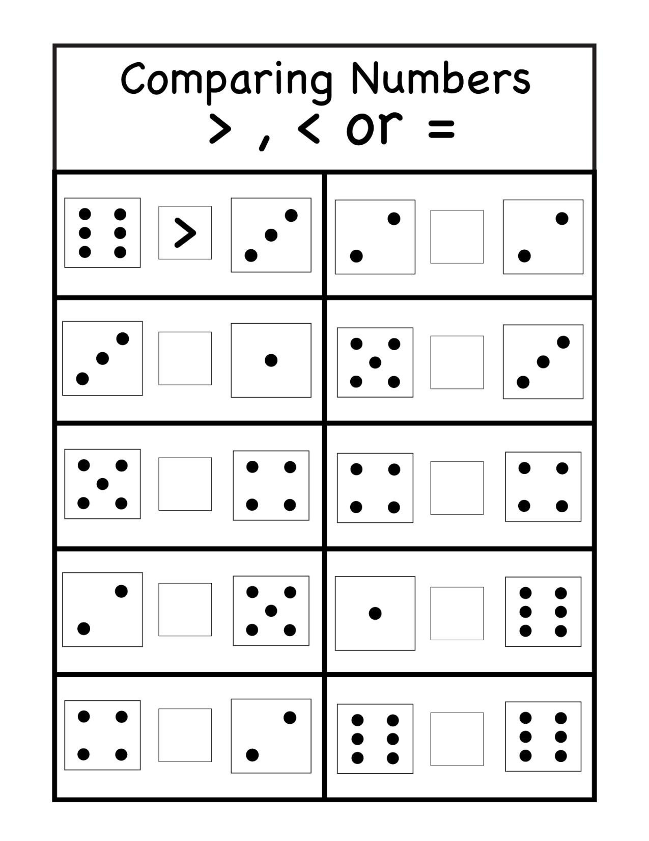 Comparing Numbers Worksheets for Kindergarten Paring Archives