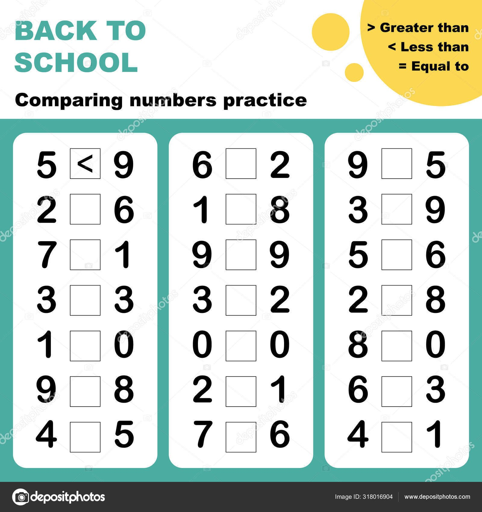 Comparing Numbers Worksheets for Kindergarten Paring Numbers Worksheet Easy Worksheet for Children In Preschool Elementary and Middle School