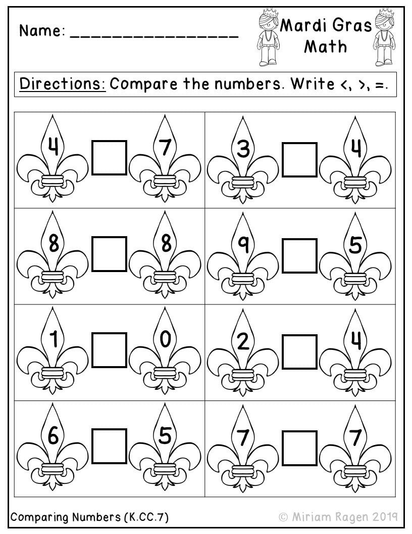 Comparing Numbers Worksheets for Kindergarten Worksheet Mardi Gras Math Worksheets Paring Numbers