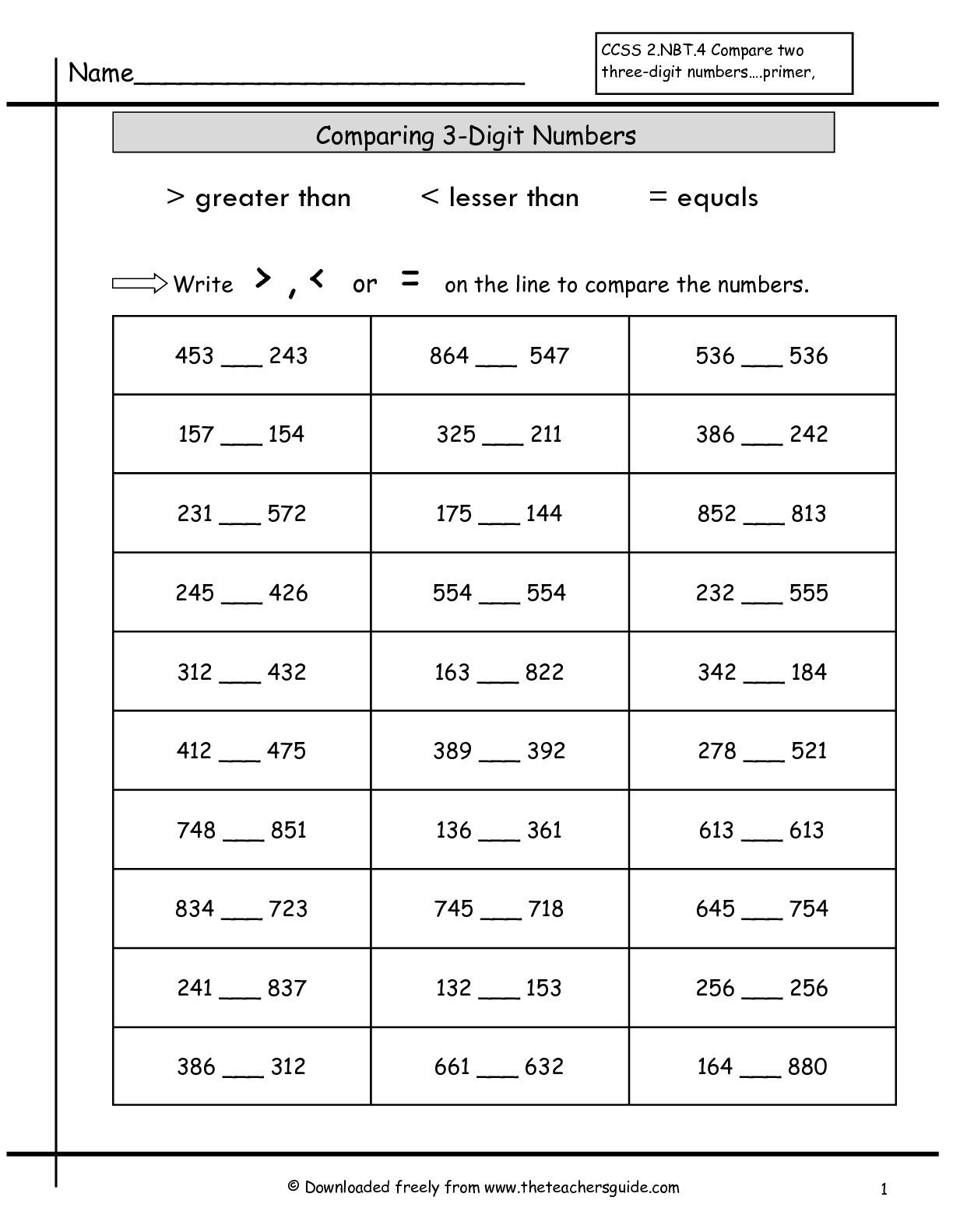 Comparing Numbers Worksheets for Kindergarten Worksheets Paring Numbersksheets Free for Kindergarten