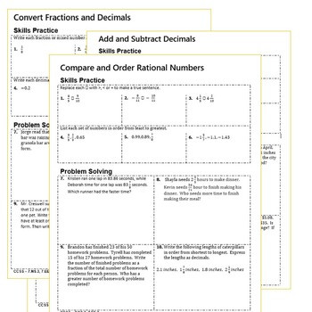 Converting Rational Numbers Worksheet Rational Numbers Homework Practice Worksheets Skills Practice & Word Problems