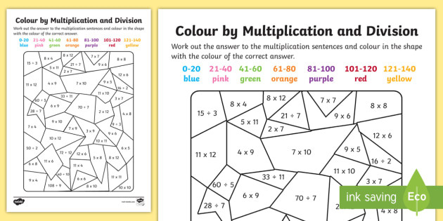Division Color by Number Worksheet Color by Multiplication and Division to 12 X 12 Worksheet