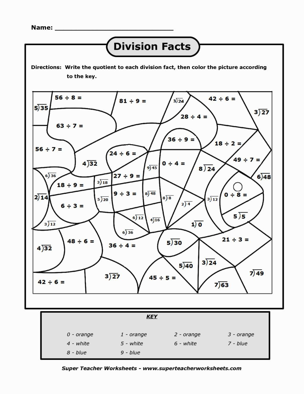 Division Color by Number Worksheet Division Coloring