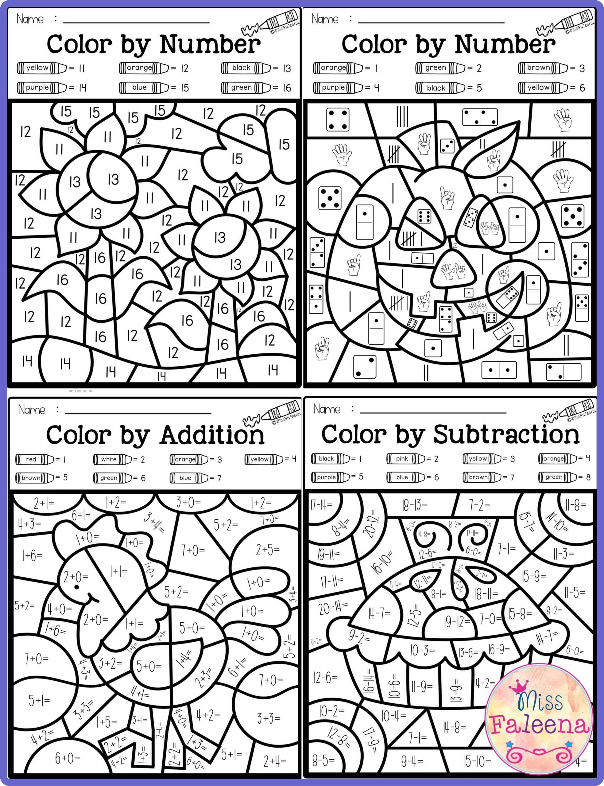 Fall Color by Number Worksheets Math Worksheet Math Color by Numbern Fall Code Subtraction
