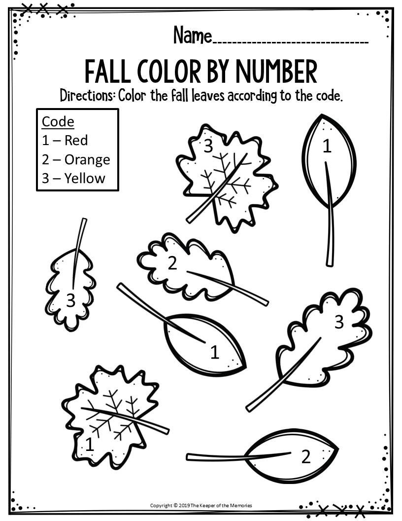Fall Color by Number Worksheets Preschool Worksheets Fall Color by Number Leaves the