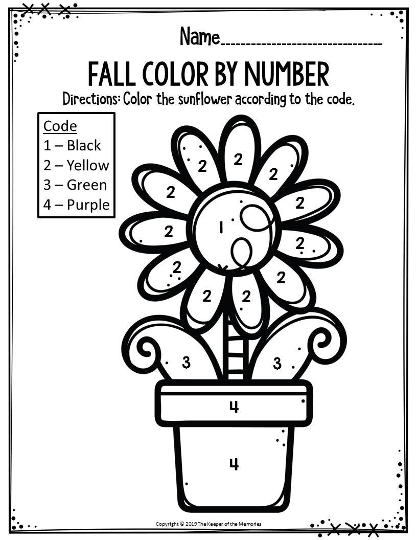Fall Color by Number Worksheets Preschool Worksheets Fall Color by Number Sunflower the