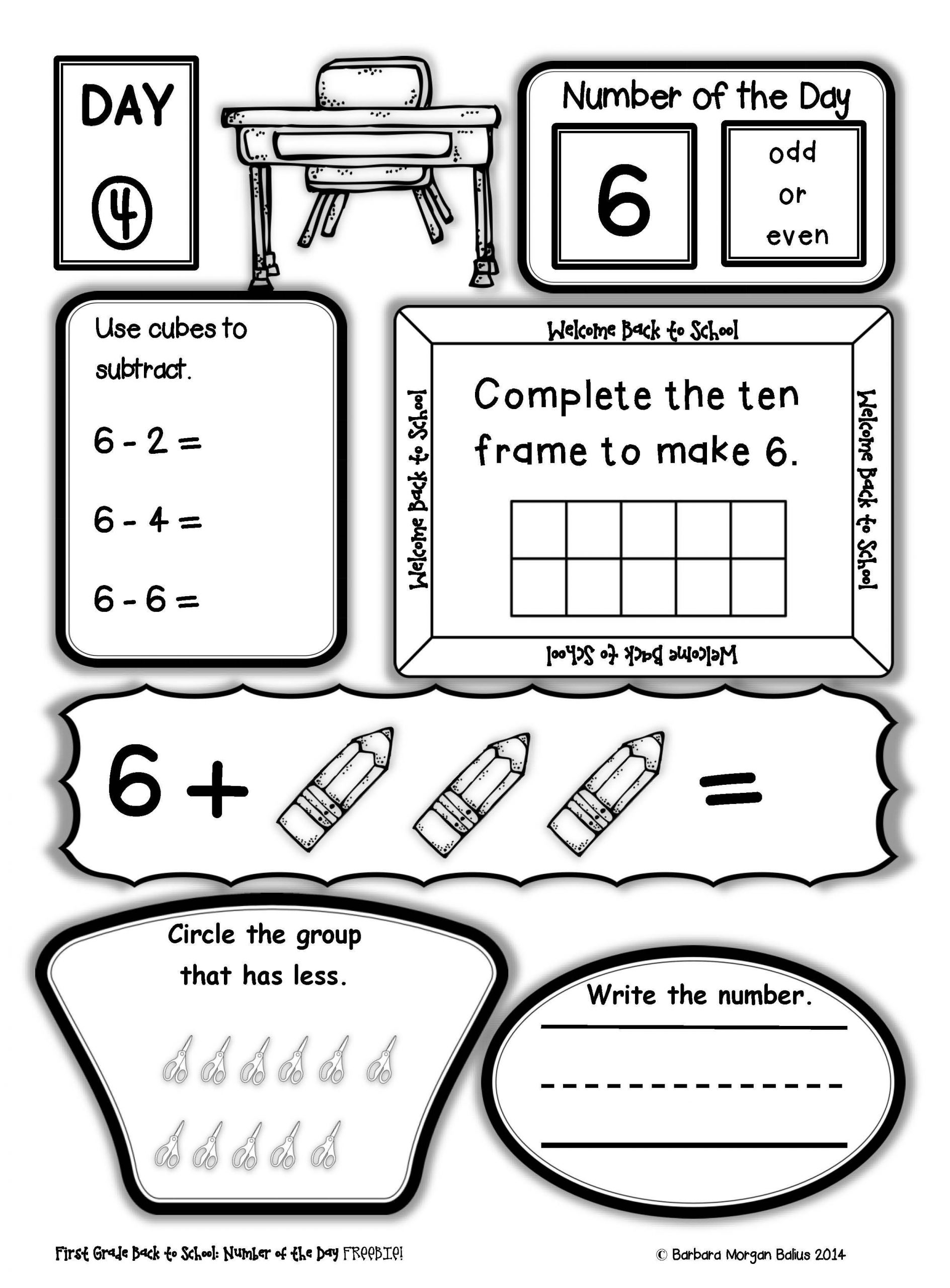 First Grade Number Sense Worksheets Number Sense Freebie Number Of the Day Back to School First