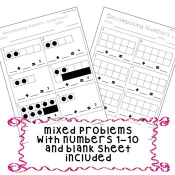 Kindergarten De posing Numbers 1 10 Worksheet Bundle