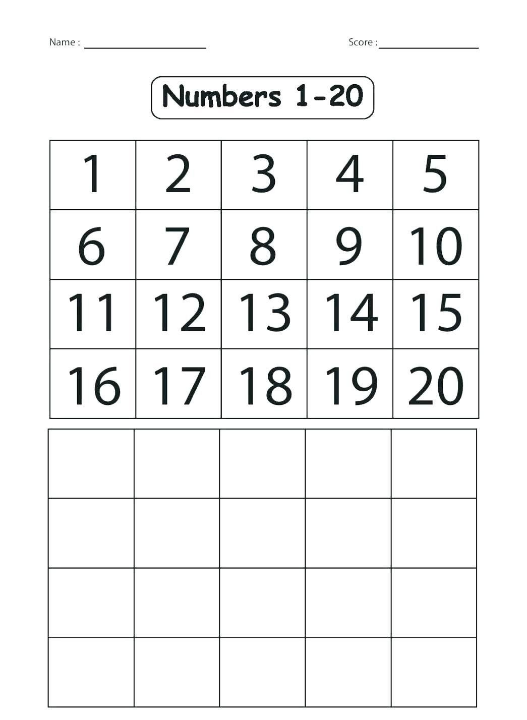 Kindergarten Number Recognition Worksheets 4 Numbers 1 20 Printable Free In 2020
