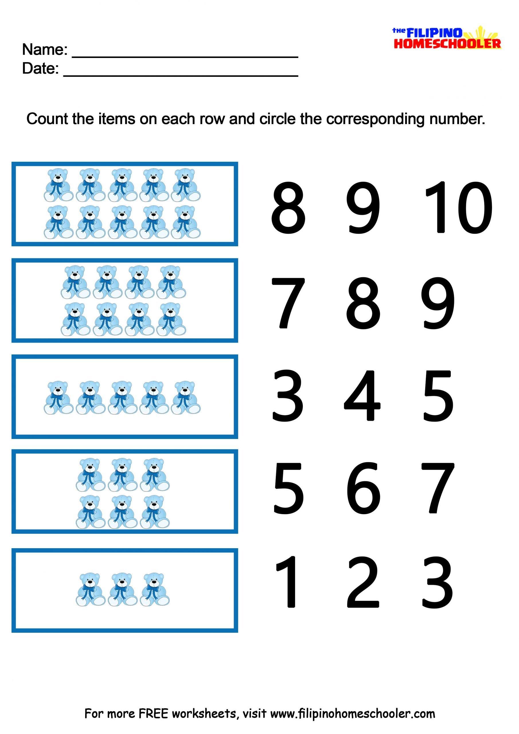 Kindergarten Number Recognition Worksheets Number Recognition Worksheets 1 10 — the Filipino Homeschooler