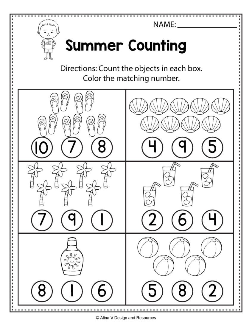 counting worksheets summer math and activities for 846x1095