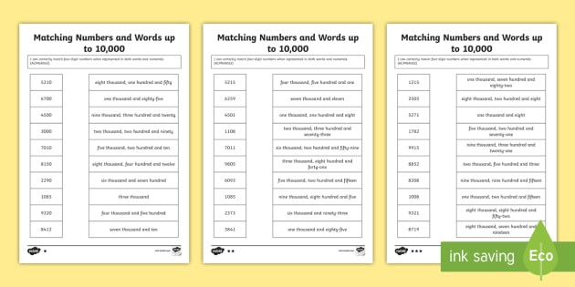 Matching Numbers to Words Worksheets Matching Numbers and Words Up to 10 000 Worksheet