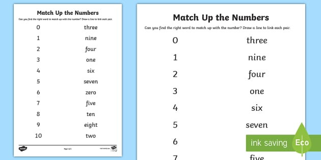 Matching Numbers With Words Worksheet
