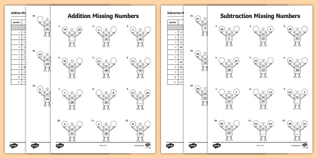 t he 462 addition and subtraction missing numbers robot themed activity sheet