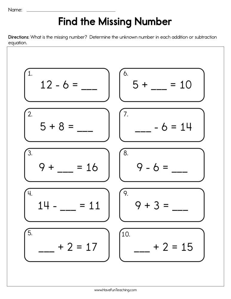 Missing Numbers Subtraction Worksheets Finding the Missing Number Worksheet