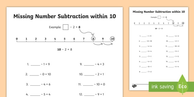 t n 7103 missing number subtraction within 10 activity sheet