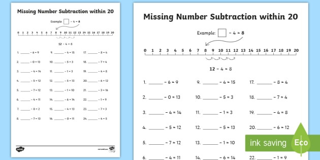 t n missing number subtraction within 20 activity sheet