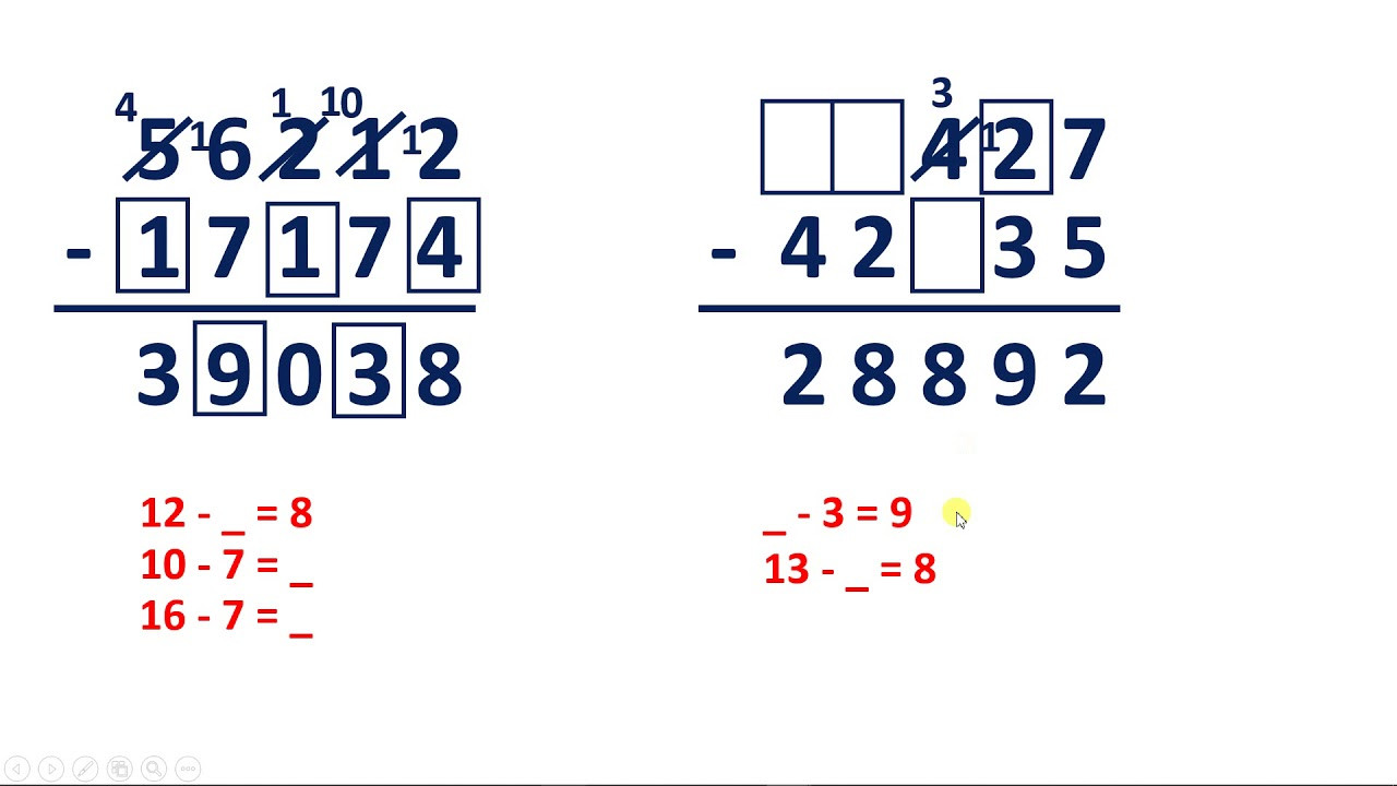 Missing Numbers Subtraction Worksheets solve Subtraction Problems with Missing Digits