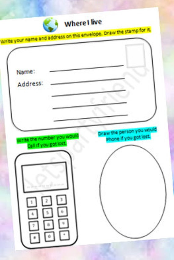 Name Address Phone Number Worksheet Address Kids Activity Address Practice Home School Printable Educational Activity Printable Worksheet Writing Practice Preschool Game