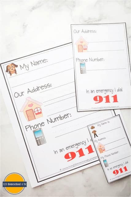 Name Address Phone Number Worksheet Free Learn My Name & Address Printables