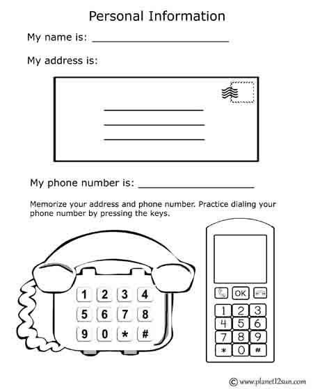 Name Address Phone Number Worksheet Free Printable Black & White Worksheet Name Address Phone