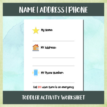 Name Address Phone Number Worksheet Name Address Phone toddler Activity Worksheet